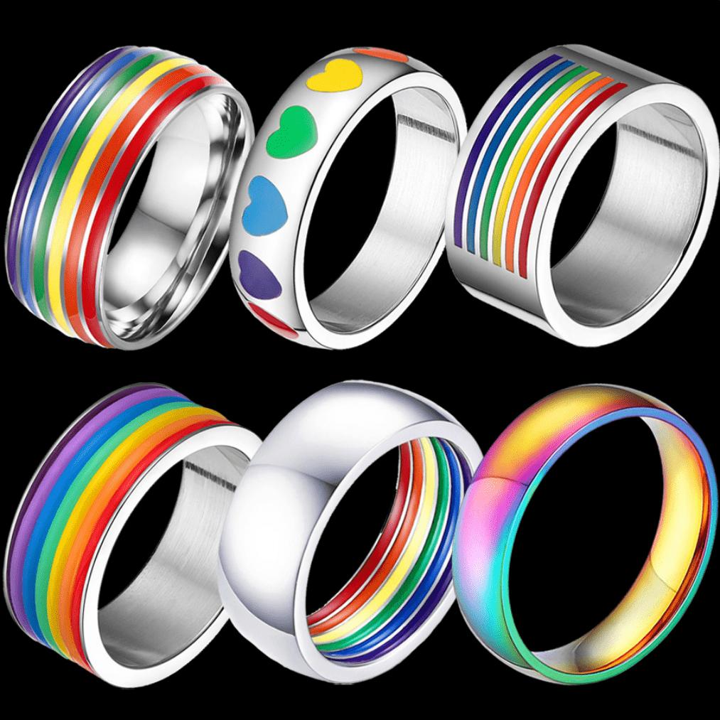 6 bagues argentées couleurs drapeau LGBT