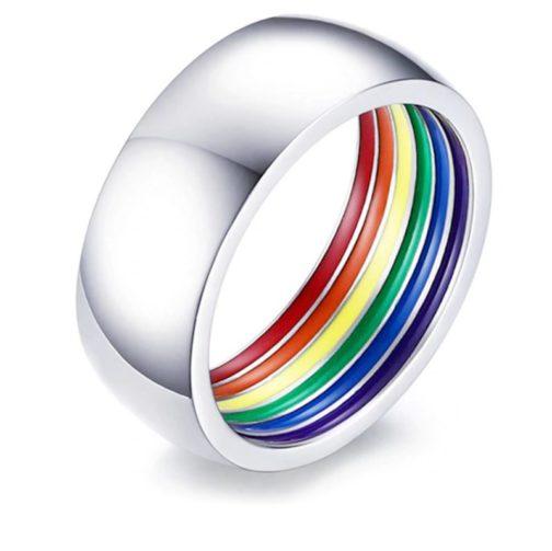 Bague argentée couleurs drapeau LGBT intérieur