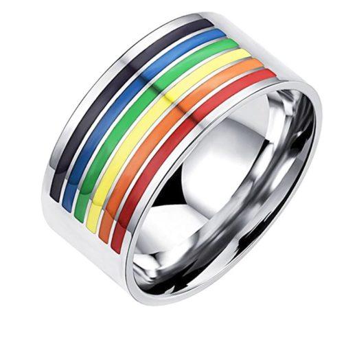 Bague argentée couleurs drapeau LGBT partielle