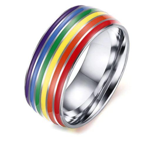 Bague argentée tour couleurs drapeau LGBT