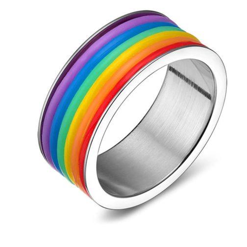 Bague argentée tour silicone couleurs drapeau LGBT
