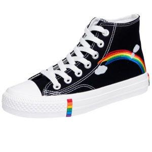 Chaussure noire style converse lgbt arc-en-ciel pointure 35 40