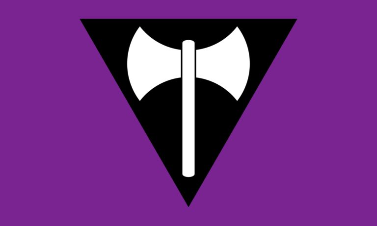 Drapeau Labrys lesbien design 1999