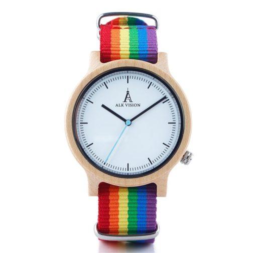 Montre LGBT cadran bois érable