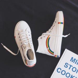 Paire chaussures blanches style converse lgbt arc-en-ciel pointure 35 40