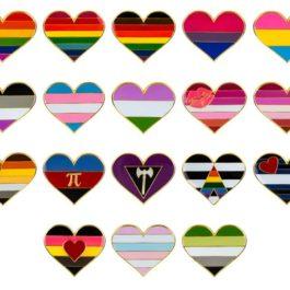 Pins forme de coeur drapeaux LGBT - 18 modèles