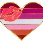 Pins en forme de coeur aux couleurs du drapeau lesbienne lipstick lèvres