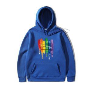 Sweat à capuche LGBT Love wins homme et femme bleu