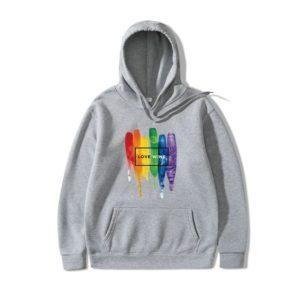 Sweat à capuche LGBT Love wins homme et femme gris clair