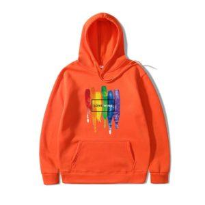 Sweat à capuche LGBT coeur homme et femme orange