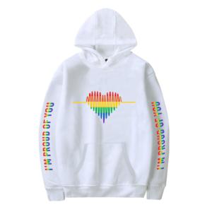 Sweat-shirt à capuche LGBT heart homme et femme blanc