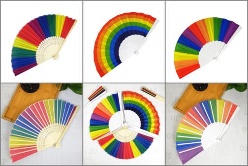 Trois modèles eventails arc-en-ciel LGBT cercle et pliés - Gorges bambou ou plastique blanc