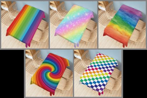 5 nappes rectangulaires arc-en-ciel multicolores 140x200cm