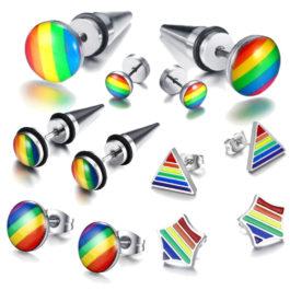 6 paires de boucles d'oreilles LGBT argentées et noires arc-en-ciel en acier inoxydable