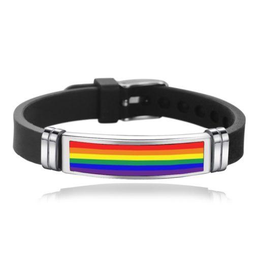Bracelet noir en silicone LGBT arc-en-ciel - boucle d'ardillon