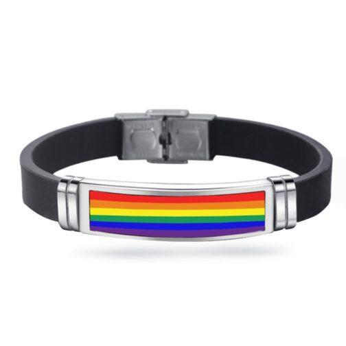 Bracelet noir en silicone LGBT arc-en-ciel - double sécurité