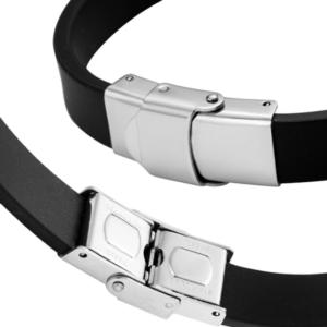 Bracelet noir en silicone LGBT arc-en-ciel - focus double sécurité