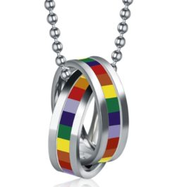 Collier LGBT arc-en-ciel acier inoxydable argenté - focus deux bagues argentées