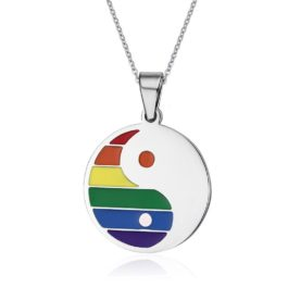 Collier Yin Yang LGBT argenté arc-en-ciel