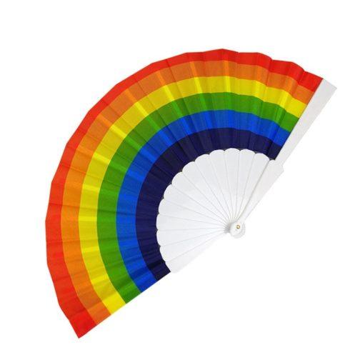 Eventail arc-en-ciel LGBT - Gorge plastique blanc