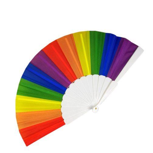 Eventail bandes arc-en-ciel LGBT - Gorge plastique blanc