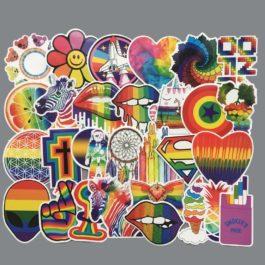 Lot de 60 stickers LGBT arc-en-ciel