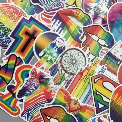 Lot de 60 stickers LGBT arc-en-ciel focus sticker