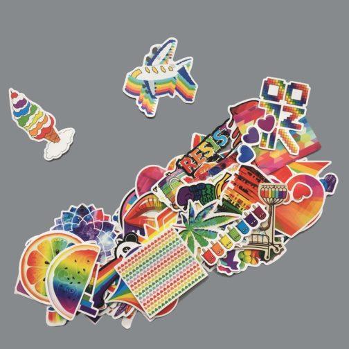 Lot de 60 stickers LGBT arc-en-ciel mélange glace avion