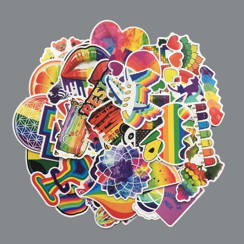 Lot de 60 stickers LGBT arc-en-ciel mélangé