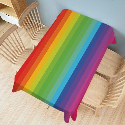 Nappe rectangulaire arc-en-ciel bandes multicolores 140x200cm