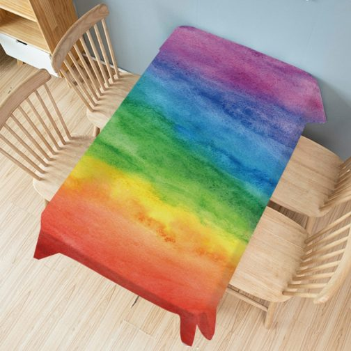 Nappe rectangulaire arc-en-ciel peinture multicolore 140x200cm