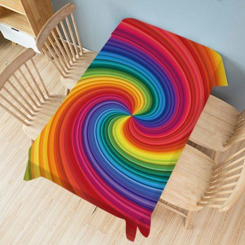 Nappe rectangulaire arc-en-ciel vortex multicolore 140x200cm