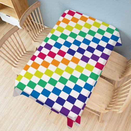 Nappe rectangulaire blanche arc-en-ciel damier multicolore 140x200cm