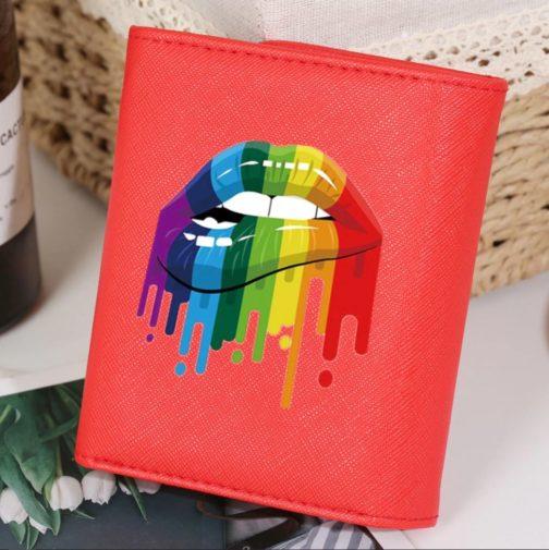 Portefeuille LGBT rouge lips face avant lèvres arc-en-ciel