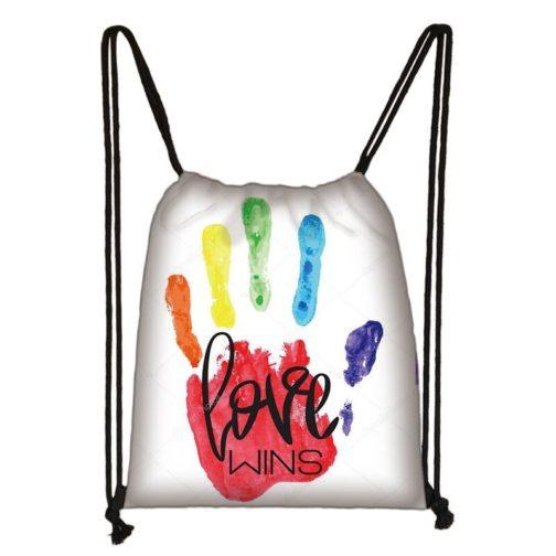 Sac à dos arc-en-ciel LGBT blanc Main peinture multicolore love wins