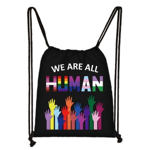Sac à dos arc-en-ciel LGBT noir We are all human mains multicolores
