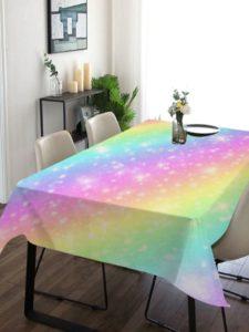 Salle à manger table nappe rectangulaire arc-en-ciel galaxie multicolore 140x200cm