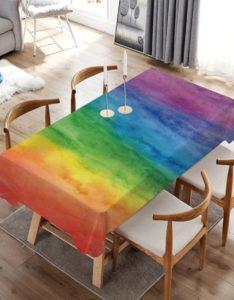 Salle à manger table nappe rectangulaire arc-en-ciel peinture multicolore 140x200cm