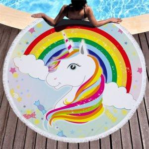Serviette de plage ronde licorne arc-en-ciel lgbt