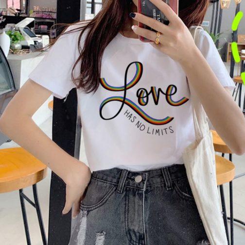T-shirt blanc LGBT - Love has no limits arc-en-ciel