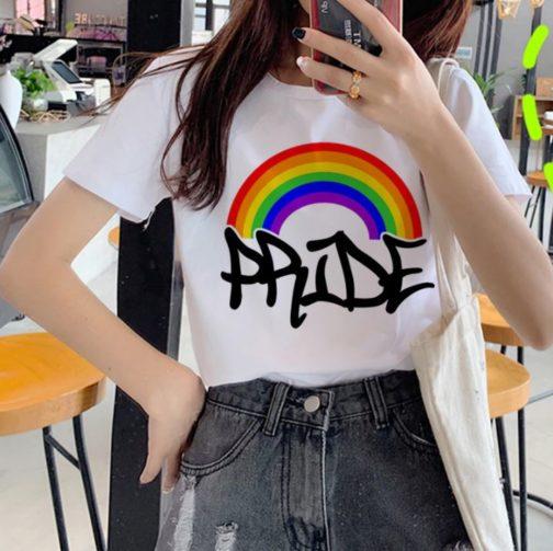 T-shirt blanc LGBT - Pride arc-en-ciel