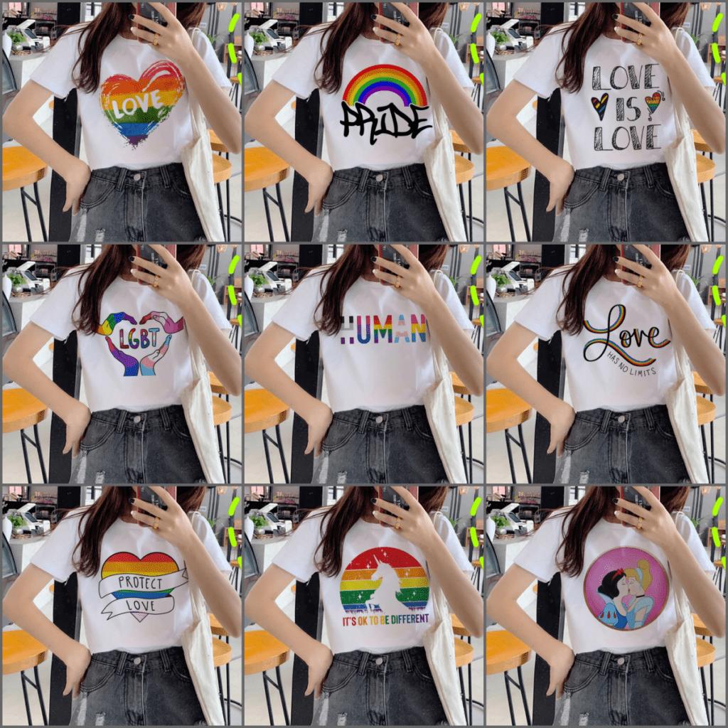 T-shirts blancs LGBT - 9 modèles arc-en-ciel