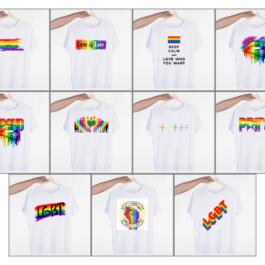 T-shirts LGBT blancs arc-en-ciel 11 modèles