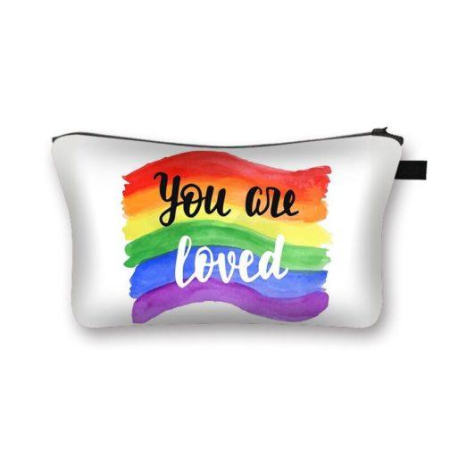 Trousse de toilette maquillage bijoux cosmétiques blanche drapeau LGBT You are loved multicolore arc-en-ciel