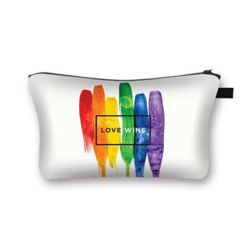 Trousse de toilette maquillage bijoux cosmétiques blanche LGBT Love wins peinture multicolore arc-en-ciel