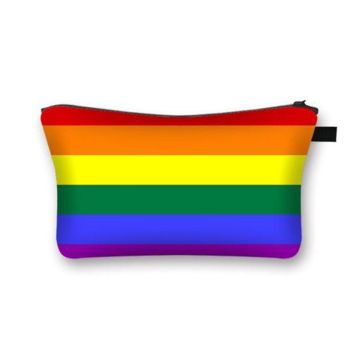 Trousse de toilette maquillage bijoux cosmétiques drapeau LGBT 6 bandes horizontales multicolores arc-en-ciel