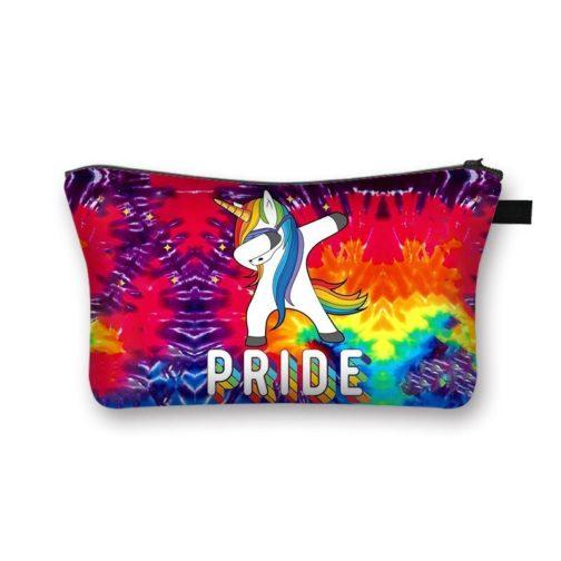 Trousse de toilette maquillage bijoux cosmétiques noire LGBT Pride Licorne dab explosion multicolore arc-en-ciel