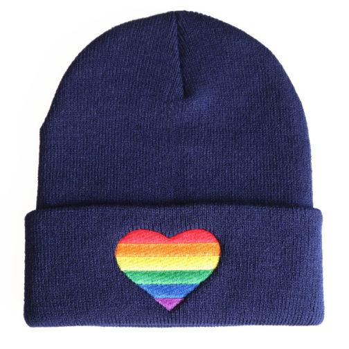 Bonnet Bleu Coeur LGBT Arc-en-ciel