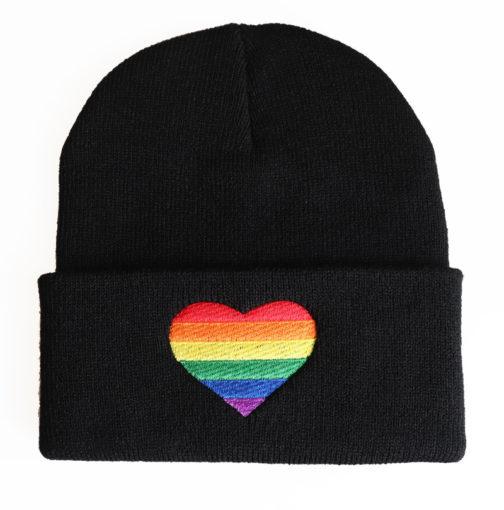 Bonnet Noir Coeur LGBT Arc-en-ciel