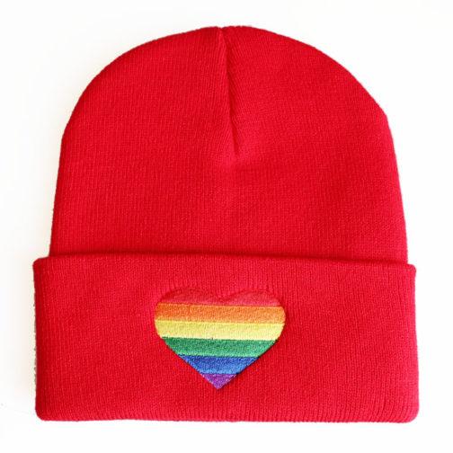Bonnet Rouge Coeur LGBT Arc-en-ciel